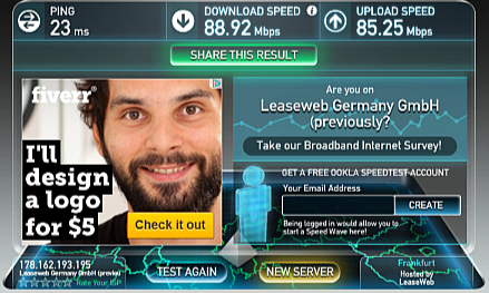 IronSocet VPN Speed Test