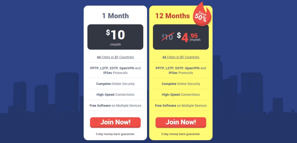 pricing plan-strong vpn