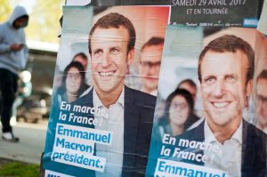 Emmanuel Macron campaign posters for the 2017 french presidential election.