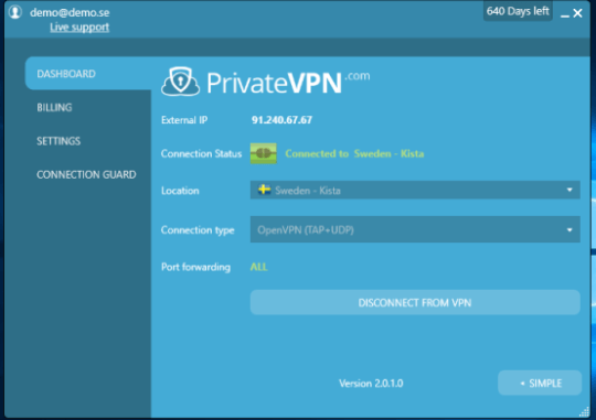 PrivateVPN-windows-user-interface