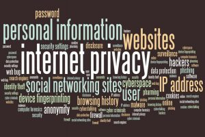 Internet privacy issues and concepts word cloud illustration.