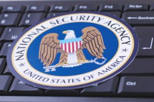 National Security Agency NSA seal on keyboard