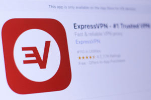 Trusted VPN app in play store. close-up on the laptop screen.
