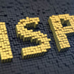 Acronym 'ISP' of the yellow square pixels on a black matrix background. Internet service provider concept.