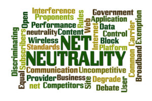 Net Neutrality word cloud with white background