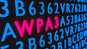 Red glowing word WPA3 on dark wall among random letters 3D illustration