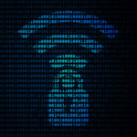 Wi-Fi security flaw symbol on blue binary code background.