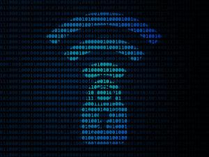 Wi-Fi security flaw symbol on blue binary code background.