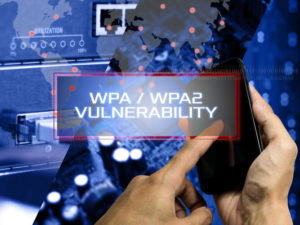 Wireless protocol internet concept showing WPA2 VULNERABILITY.