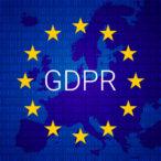 GDPR - General Data Protection Regulation. EU map and flag. Vector illustration