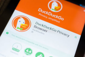 DuckDuckGo Privace Browser mobile app on the display of tablet PC