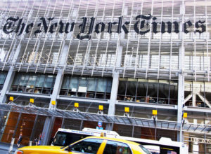Famous newspaper, The New York Times Building on June 3rd, 2012, New York, NY.