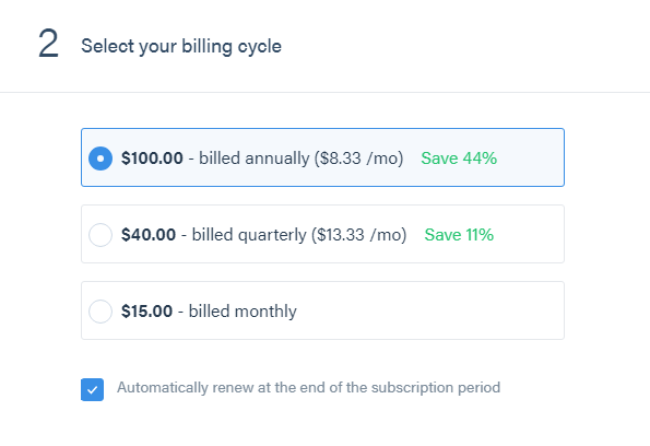 Select a billing cycle