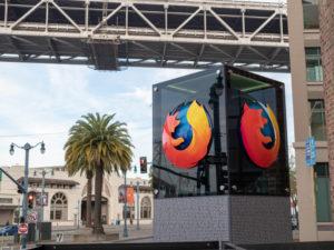 Mozilla sign and Firefox logo outside of San Francisco location entrance.