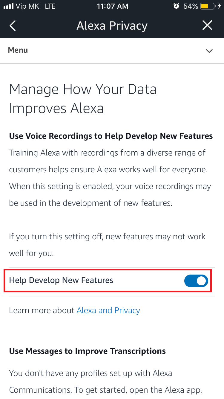 Help Develop New Fetures turn off option in Alexa app screenshot.