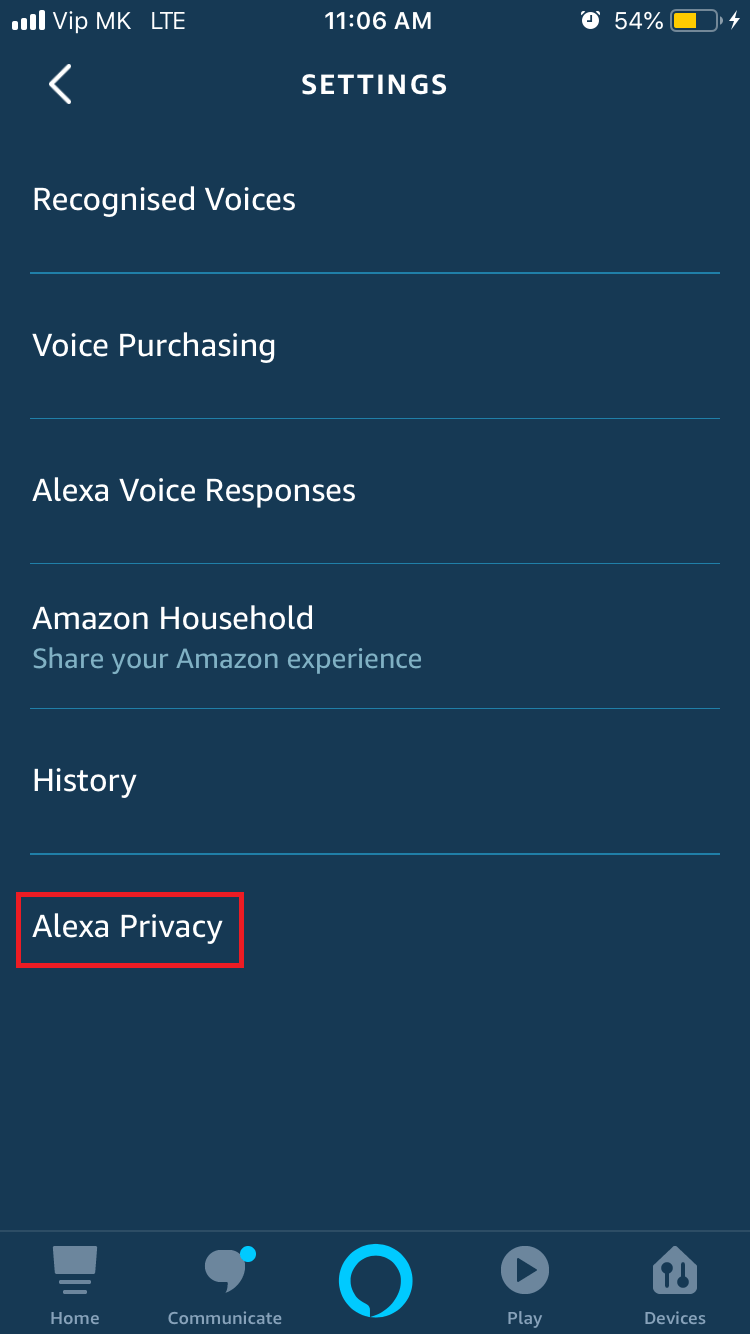 Alexa Privacy Option in Alexa app screenshot.