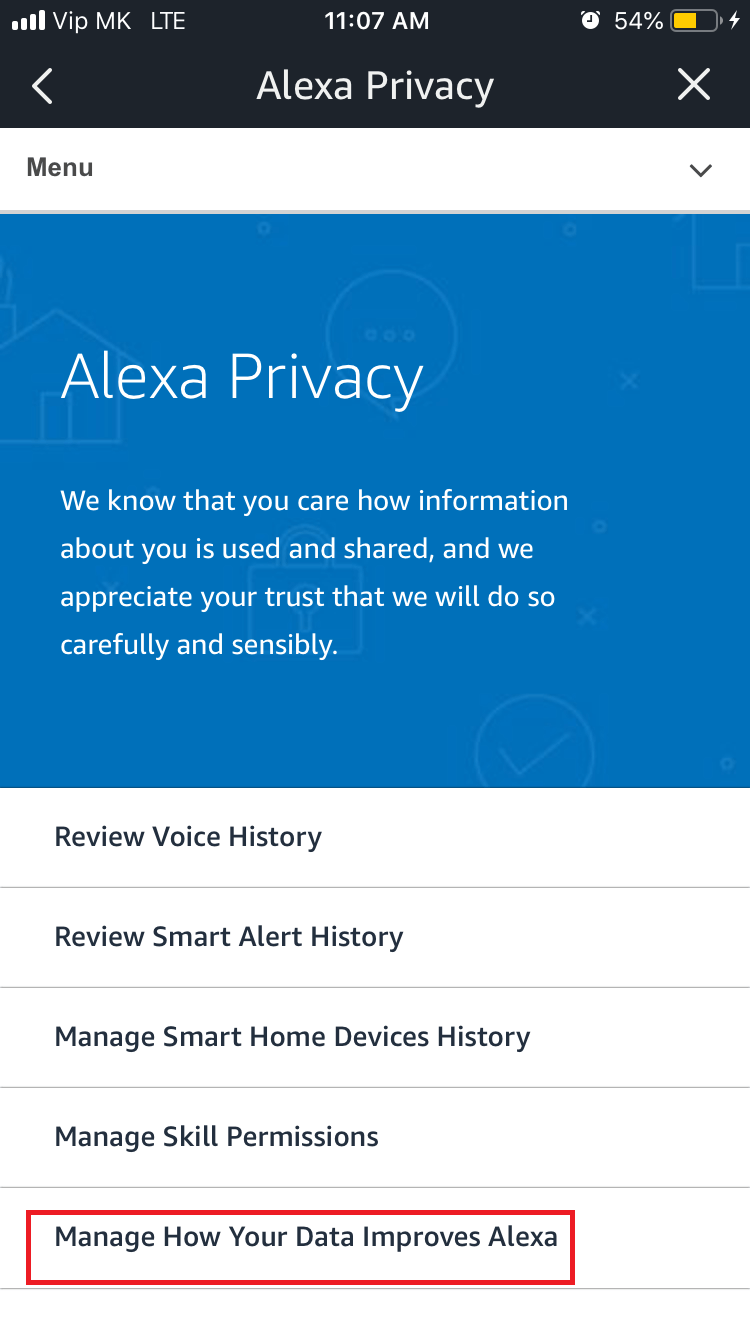 Manage how your data improves Alexa option in Alexa app.